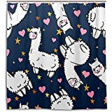 chillChur-DD Shower Curtain Set Tende da doccia Cuore Stella Lama Alpaca Tenda da bagno impermeabile Bagno Decorazioni per la casa, 168X183 Cm (66X72 In) con 12 ganci