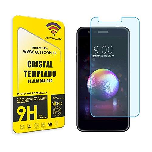 actecom® Cristal Templado Protector Pantalla 9h 2.5D para LG K11 (K10 2018) Vidrio con Caja