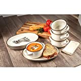 Rustic Styled 8-Piece Bowl and Platter Set with Metallic Rim Glaze - Microwave & Dishwasher Safe (Cream)
