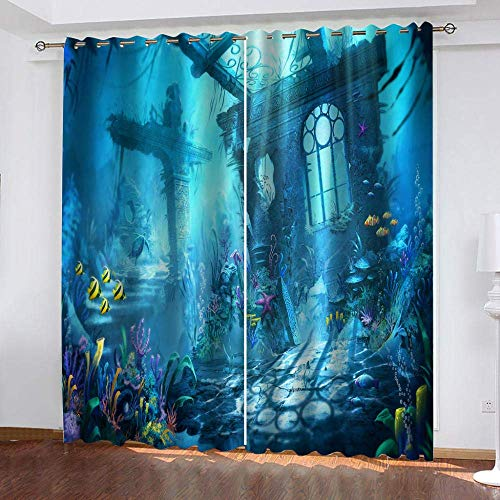 meilishop Polyester Window Curtains Forest Waterproof Mildew Resistant Fabric Curtains Colorful Window Curtains For Living Room Office Bedroom 265(H) x200(W) Cmx2 Panels/set
