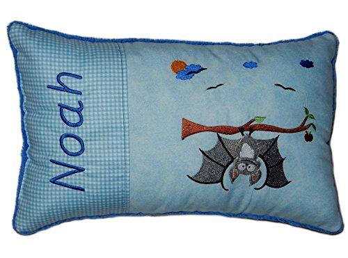 Blaues Schmusekissen * Kuschelkissen * Fledermaus * mit Namen bestickt * ca. 25 * 40 cm groß