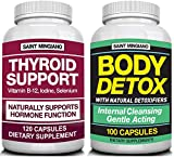 Thyroid Support Supplement with Iodine |120 Capsules to Help Body Mass & Improve Energy - TOGETHER WITH - Body Detox with 100 Capsules containing 12 Natural Ingredients - Supporting a Full Body Cleans
