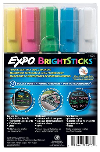 EXPO® Bullet Tip Bright Sticks Wet-Erase Fluorescent Marker Set - Assorted