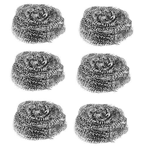 Guilty Gadgets Paquete de 6 estropajos de acero inoxidable de alambre antioxidante para cocina, resistentes almohadillas de limpieza para lavar ollas – 6 cm x 6 cm