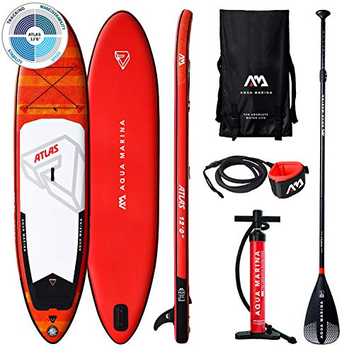 Aqua Marina Unisex-Adult BT-19ATP Atlas - Advanced All-Around iSUP, 3.66m/15cm, with Paddle and Safety Leash, Rot/Weiß, 366 x 84 x 15 cm
