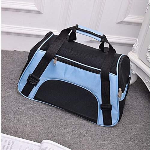 Portable Dog Cat Carrier Bag Pet Puppy Travel Bags Breathable Mesh Small Dog Cat Carrier Outgoing Pets Handbag Cat Carrier (Color : Blue, Size : 48x26x31cm)