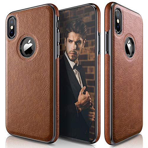 LOHASIC for iPhone Xs Case, iPhone X Case Slim Thin Premium Leather Luxury PU Soft Flexible Bumper Anti-Slip Grip Scratch Resistant Protective Cover for Apple iPhone X XS New Version (2018) - Brown