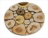 Sottopentola in legno fatto a mano per piatti caldi, 17,5 cm, grande sottobicchiere – 6 tipi di legno – odore naturale – decorazione unica in cucina – prodotto da SPL Woodcraft Ukraine