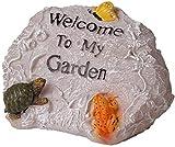 Outdoor Garten-Statue Welcome Sign Tier-Statue Garten Willkommen Resin Rockery Welcome Sign Miniatur-Skulptur Zeichen for Home Office Außen Yard Villa, 18x25x17cm for Garden Bar Cafe Shop, Tor, Tür Ji