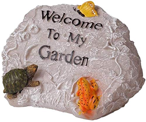 Outdoor Garten-Statue Welcome Sign Tier-Statue Garten Willkommen Resin Rockery Welcome Sign Miniatur-Skulptur Zeichen for Home Office Außen Yard Villa, 18x25x17cm for Garden Bar Cafe Shop, Tor, Tür Ji