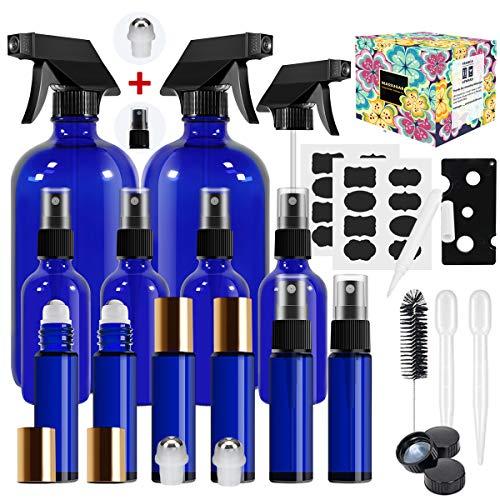 Glass Spray Bottle,MASSUGAR Cobalt Blue Glass Spray Bottles Set Refillable Container for Essential Oil Bottle Kits - 2 x 16oz, & 4 x 2oz Spray Bottles & 6 x 10ml Roller Bottles for Essential Oils or C