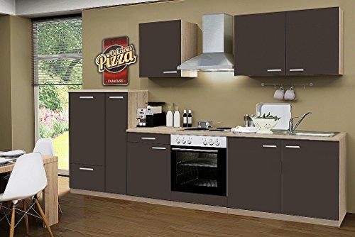 idealShopping Küchenblock mit Elektrogeräten Classic 300 cm in lava