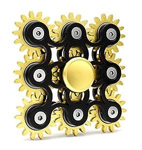 SHYNE Edler Fidget Spinner 9 Zahnräder aus Metall Lange Drehzeit bis 5 min + Metallbox Hand Toy Finger Spielzeug (schwarz)