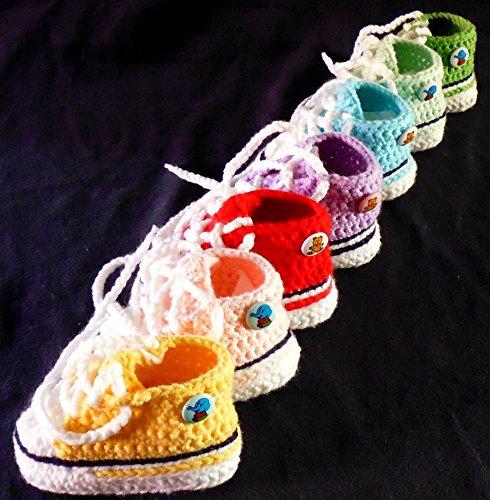 Babyschuhe - Sneakers Chucks Turnschuh gehäkelt gestrickt Gr. 16/17 (Gelb)