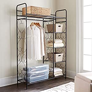 BrylaneHome 5-Tier Metal Closet with Hanging Rod Frosty Mint