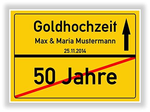 Unbekannt Geschenkidee zur Goldhochzeit - 50 Jahre Verheiratet - goldene Hochzeit - Ortsschild Bild Geschenk zum Jubiläum mit Namen und Datum