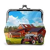 Empresa Farm Tractor PU Cuero Exquisito Hebilla monederos Vintage Bolsa clásica Kiss-Lock Cambio Monedero Carteras Regalo