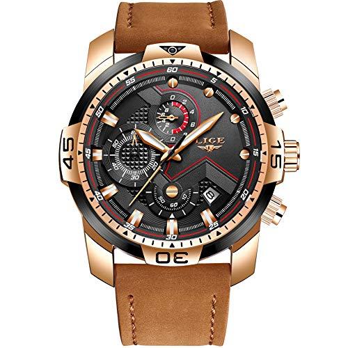 LIGE Relojes para Hombre Militar Impermeable Deporte Cuarzo Analógico Reloj Gents Cronógrafo Fecha Calendario Cuero Negro Reloj de Pulsera