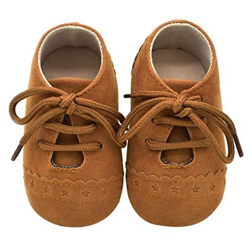 Zapatos Bebé Niña 2019 SHOBDW Zapatos Bebé Niño Verano Suela Suave Antideslizante Zapatillas Ata para Arriba Zapatos Bajos Linda Zapatos Bebé Recién Nacida Zapatos Bebe Primeros Pasos(Marrón,6~12)