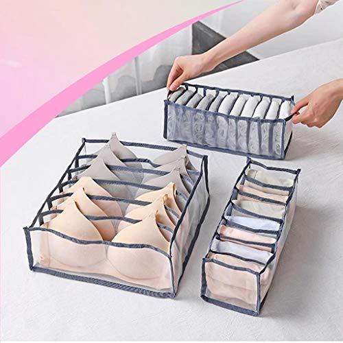 QINGMEN Unterwäsche Aufbewahrungsbox mit Fächern Socken BH Unterhose Organizer Schubladen (Grau)