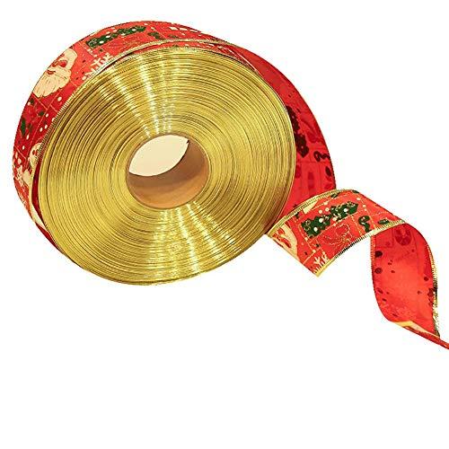 Ynnxia Weihnachtsband, Geschenk, Weihnachtsschleife, Ornament, Weihnachtsdekoration, Geschenkverpackung, 2 m, 5cm*2m, rot