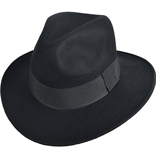 FORBUSITE 中折れハット リボン付きのフェルト帽子 つば広 ユニセックスのウールハット 無地 B5030 (ブラッ...