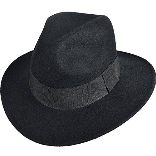 Jazmiu Damen Herrenhüte Winter Mode Filzhut Wintermütze - Fedora Hut mit breiter Krempe - 100% Wollfilz (M (57-58cm), Schwarz)