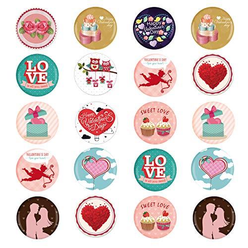 TUPARKA 24 Piezas alfileres de botón de San Valentín, Insignias de botón de Feliz día de San Valentín Regalos de San Valentín para niños, Recuerdos de Fiesta de cumpleaños de San Valentín para niños
