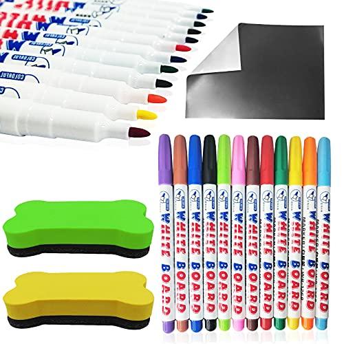 Rotulador de pizarra blanca, 12 colores con 2 borradores y pizarra blanca magnética, escritura suave, con borrado en seco sin residuos, para profesores, escuela, hogar y oficina (1-2 mm)