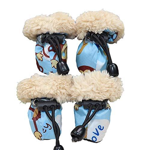 Qyeeypoc huisdier pak winter regenlaarzen, wol gevoerde cartoon hond waterdicht anti-slip warme huisdier schoenen, 7, Blauw