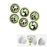 Kunststoff Möbelknopf Möbelgriff Möbelknauf Set 018WP Panda Bär 6er Kleine