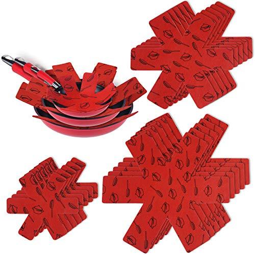 flintronic Pfannenschutz, 15PCS Pfannenschoner Topfschutz, Hitzebeständigerung, Anti-Rutsch Stapelschutz für Pfannen, Töpfe und Schüsseln - Rot