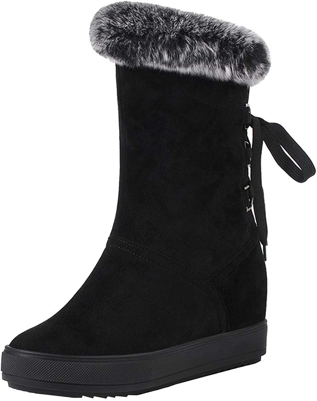 Vitalo Womens Hidden Wedge Heel Fur Lined Ankle Boots Slip On Warm Winter Snow Boots