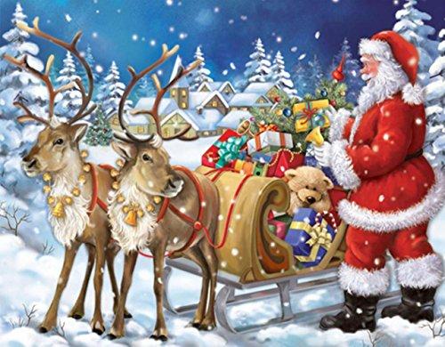 DIY 5D Diamond Painting Kit, Cross Stitch Wall Decor Snow Santa Claus with Fawn Square Diamond Painting