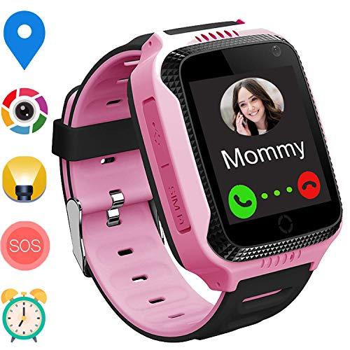 GPS Niños Smartwatch Phone - Tracker Watch Relojes para Niños con Contador de Pasos Geo Fence Cámara SOS Linterna Chat de Voz Juego para 3-12 Niños Compatible con iOS/Android (M11 Rosa)