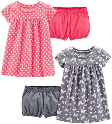 Simple Joys by Carter s Girls 2 Pack Short Sleeve and Sleeveless Dress Sets Pink Print Gray product image