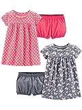Simple Joys by Carter's Conjunto de 2 vestidos de manga corta y sin mangas para bebés y niñas ,Pink Print/Gray Butterfly ,3-6 Months