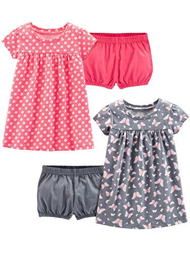 Simple Joys by Carter's Girls' 2-Pack Short-Sleeve and Sleeveless Dress Sets, Pink Print/Gray Butterfly, 18 Months