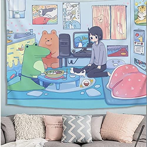 Danjiao Decoración De Habitación De Niños Tapiz Colgante De Pared Kawaii Decoración del Hogar Lindo Anime Suave Tapiz Manta Alfombra para Cortina De Mesa De Dormitorio Sala De Estar Decor 200x150cm