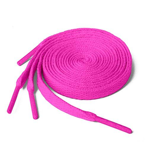 Lacci per scarpe, modello piatto, colorati, per scarpe da ginnastica, scarpini da calcio, adatti a tutte le marche, per adulti e bambini, Rosa (Deep Pink), 90 cm