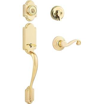 Kwikset Montara Single Cylinder Handleset with Juno Knob featuring SmartKey in Polished Brass Kwikset Corporation 95530-017
