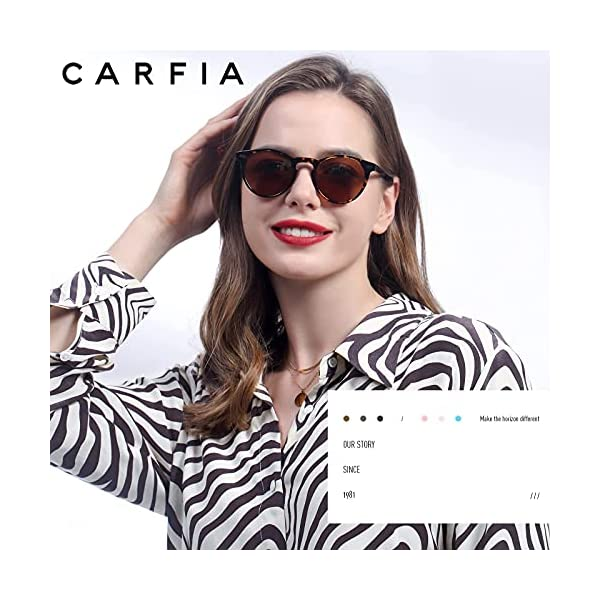 Carfia Vintage Round Polarized Sunglasses for Women UV Protection Hand-Crafted Acetate Frame Outdoor Eyewear CA5288C