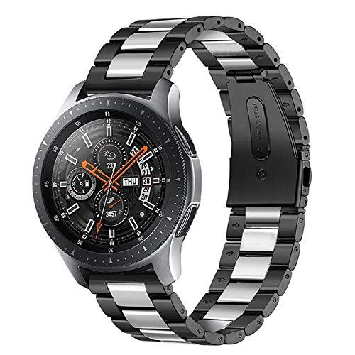 Junior one grocery 18 mm 22 mm 20 mm 24 mm Correa de Reloj para Samsung Galaxy Watch 42 46 mm Gear S3 Active2 Clásico de liberación rápida Acero Inoxidable-Negro Plateado, 20 mm