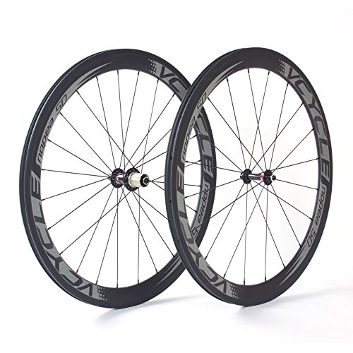 VCYCLE Nopea 700C Carbon Rennrad Laufradsatz Tubular 50mm Ultra Light Shimano oder Sram 8/9/10/11 Speed