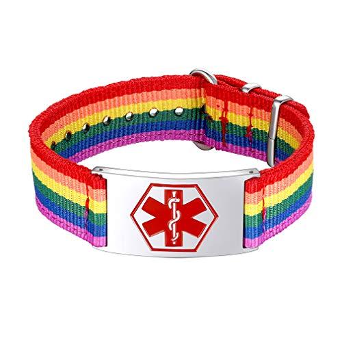 Banda Nylon Multicolores LGBT Homoxesual Gays Lesbianas Arco Iris Pulsera Personalizado con Cruz Médica Signo Mundial Socorro Emergencia Enfermedades Talla Pequeña S