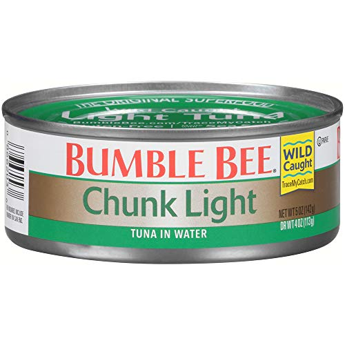 BUMBLE BEE Chunk Light Tuna In Water, Wild Caught, High Protein Food, Gluten Free, Keto, Canned Food, 5 Ounce Cans, 24 Count