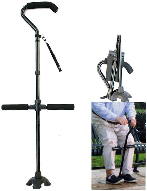 Foldable Walking Cane with Ergonomic Handle Crutches Cushion Handle Adjustable Folding Cane for Men and Women