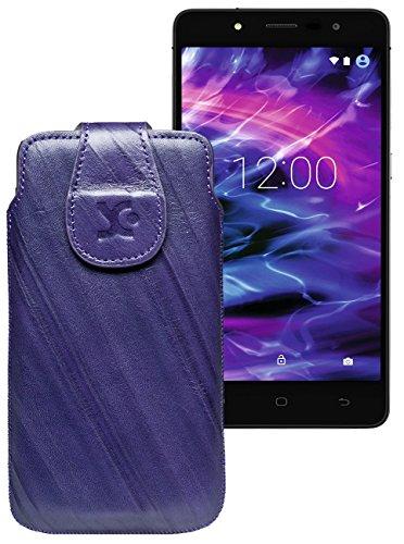 Original Suncase Tasche für MEDION® LIFE® E5005 (MD 99915) | Leder Etui Handytasche Ledertasche Schutzhülle Hülle Hülle / in wash-dunkel-lila