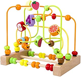 Wooden Beads Maze Roller Coaster Activity Learning Game Preschool Educational Toy Gift for Boys Girls Baby Gift Toddlers