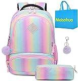Mochila Rainbow Glitter para niñas - Mochila Preescolar para niños Lindos Mochila de Viaje Ligera Mochila Informal Encantadora Regalo para niñas (Rainbow)